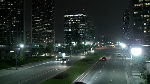 A downtown Los Angeles street at night Footage
