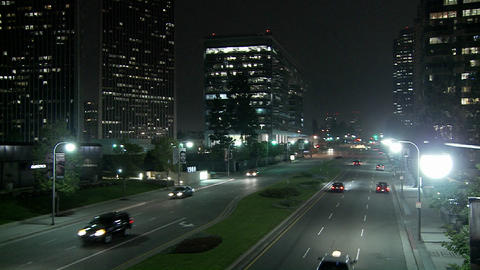 A downtown Los Angeles street at night Stock Video Footage