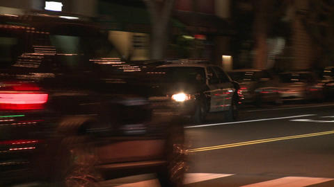 A police car drives on a downtown Los Angeles stre Footage
