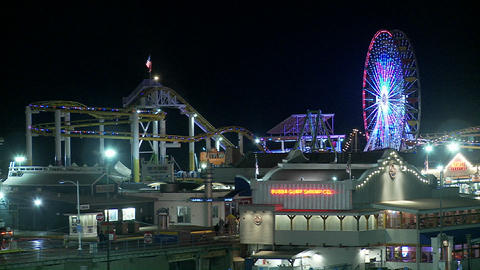 A night shot of the Santa Monica pier in Los Angel Footage