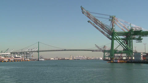 POV shot from a boat of cranes and Long Beach San  Footage