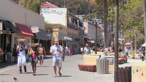 The boardwalk at Catalina Island in Southern Calif Stock Video Footage