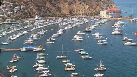 High angle wide overview of the town of Avalon on Stock Video Footage