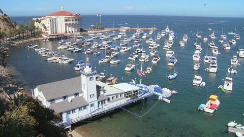 Overview of the town of Avalon on catalina Island Stock Video Footage