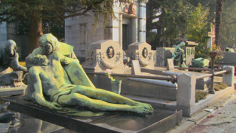 Sculpture in a cemetery on a grave Footage
