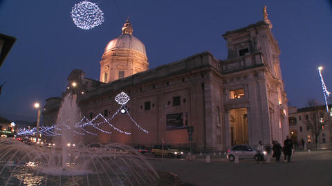 Christmas decorations around an Italian church squ Stock Video Footage