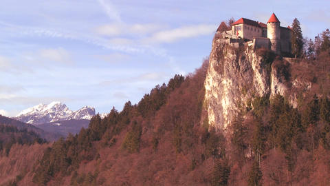 A beautiful medieval castle in the Alps, Slovenia Stock Video Footage