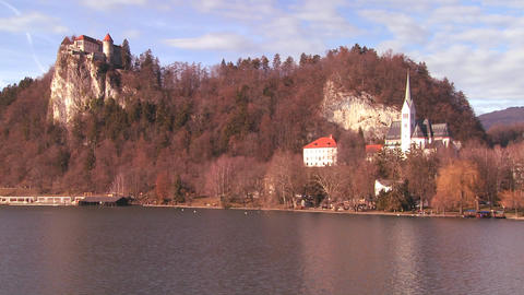 A beautiful medieval castle and church on the shor Stock Video Footage