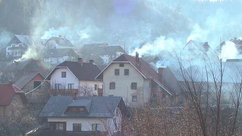 Villages in Eastern Europe pollute the environment Footage