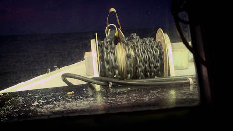 A ship's chain is rewound Stock Video Footage