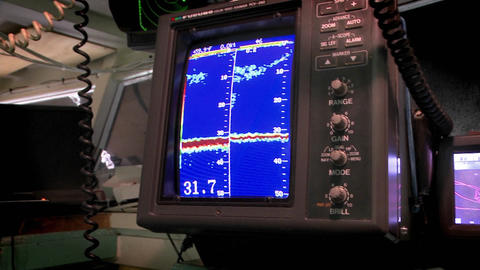 A sea vessel uses a piece of sonar equipment Stock Video Footage