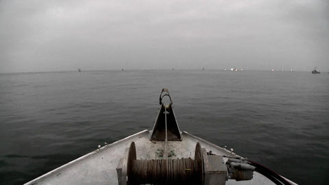 Several boats navigate in open waters Stock Video Footage