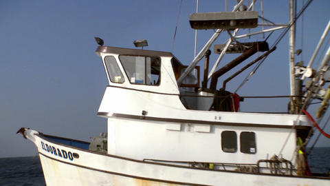 A man moves around the deck of a boat, and a bird flies by Stock Video Footage