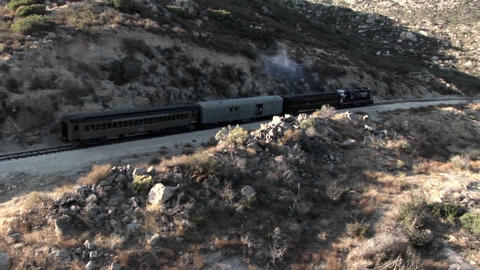 A train passes through a remote region Stock Video Footage