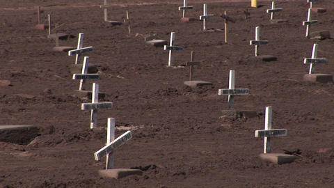 Many white wooden crosses marked only with the phrase no... Stock Video Footage