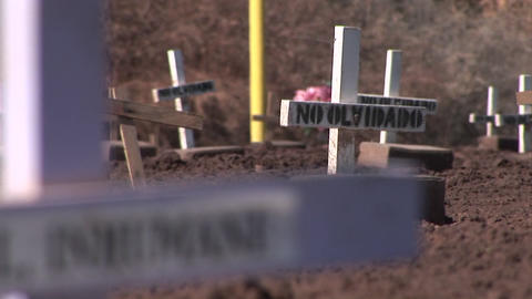 Many crosses and gravestones have been mounted in a... Stock Video Footage