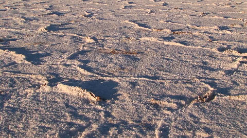 Salt Flat in Alto Plano Argentina with distant mountains tilt from salt to mountains M.S Footage