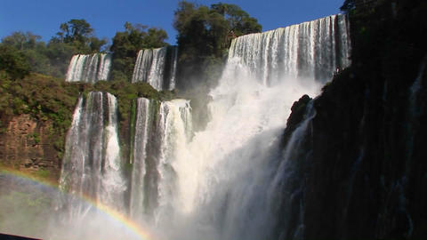 The spectacular Iguacu Falls on the Brazil/Argentina border Stock Video Footage
