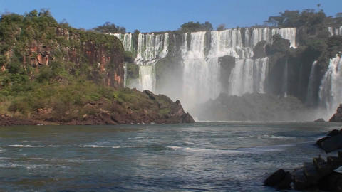 Iguacu Falls on the border of Brazil and Argentina Stock Video Footage