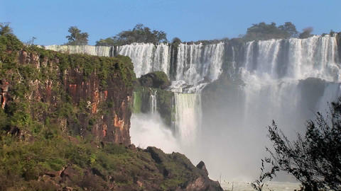 A wide shot ofIguacu Falls Stock Video Footage