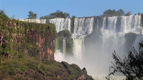 A wide shot ofIguacu Falls Footage