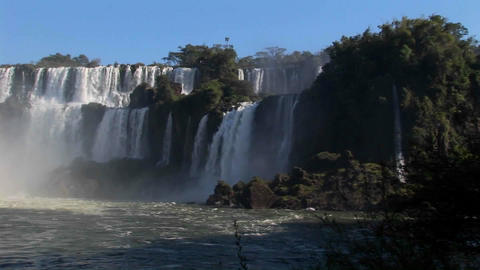 A slow pan across beautiful Iguacu Falls Stock Video Footage
