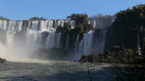 A slow pan across beautiful Iguacu Falls Stock Video Footage