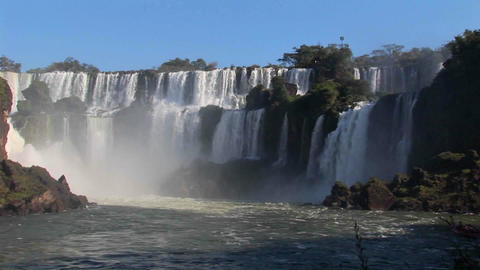 A slow pan across beautiful Iguacu Falls Footage