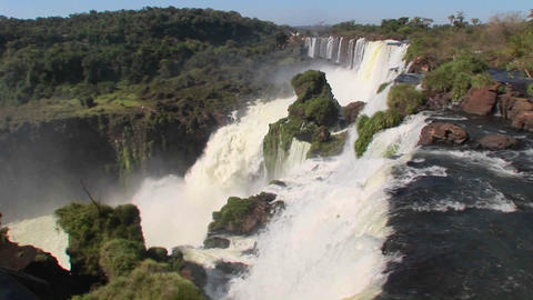 A perspective looking over the edge of a waterfall, Iguacu Falls Footage