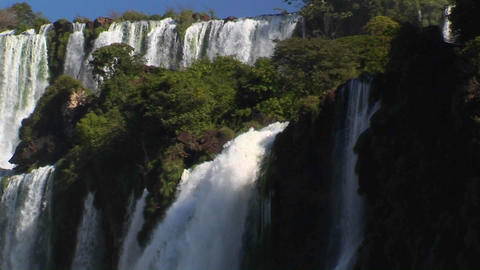 Iguacu Falls flowing at the Argentina/Brazil border Stock Video Footage