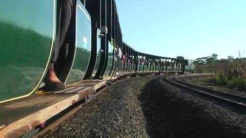 Argentina Iguazu Falls tourist train to falls Footage