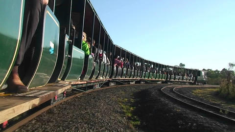 Argentina Iguazu Falls tourist train to falls Stock Video Footage