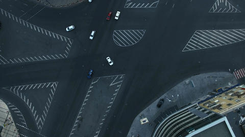 Aerial View of The Bustling Traffic on The Road Footage