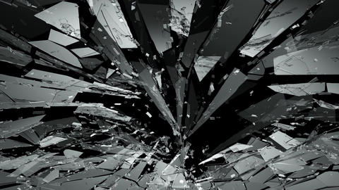 Pieces of destructed Shattered glass in slow motion. Alpha matte 4k CG動画素材