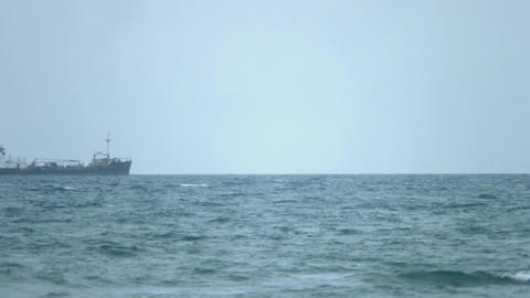 General cargo ship moving on horizon, carrying freight. International transport Footage
