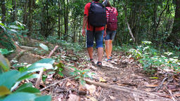 Working couples having fun while hiking Archivo