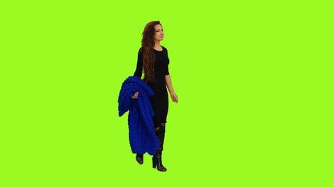 An elegant woman in black dress walking, 4k shot with alpha channel Footage