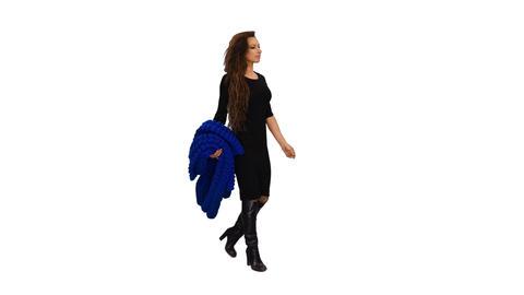 An elegant woman in black dress walking, Full HD shot with alpha channel Footage