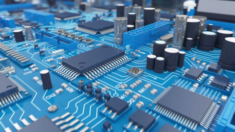 Beautiful 3d animation of the Motherboard in Close-up Seamless. DOF Blur. Looped Animation