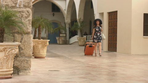 Elegantly dressed young woman travels abroad for shopping tour, heads for hotel Footage