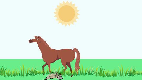 Cartoon Horse Walking in Grass (4K): Looping Animation