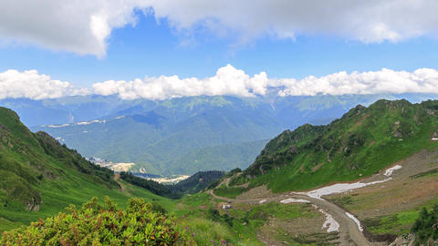 Valley Rosa Khutor. Panorama. Time Lapse. Sochi, Russia Footage