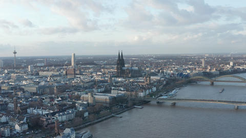 AERIAL: Wide Shot of Cologne Germany and Rhine River from the air with majestic Live Action