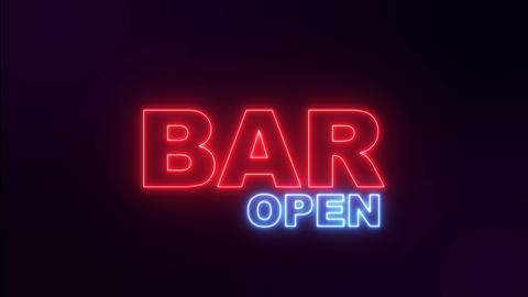 Night neon sign bar. Open bar neon text Live Action