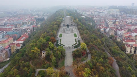 Aerial view of National Monument on Vitkov Hill - National war memorial and Live Action