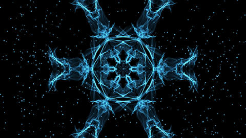 Live fractal, blue star shape with glittering small stars on black background Animation