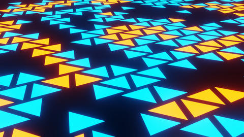 Blue Orange Abstract Blink or Twinkle Triangle on Black Background in Side View Animation