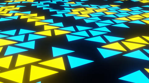 Blue Yellow Abstract Blink or Twinkle Triangle on Black Background in Side View Animation