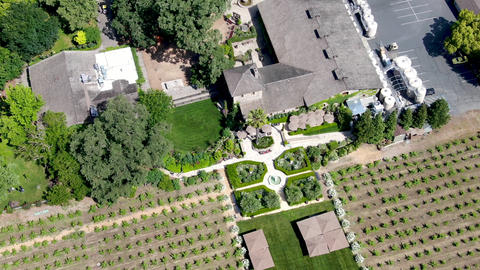 Aerial view of V. Sattui Winery and retail store, St. Helena, Napa Valley Live Action