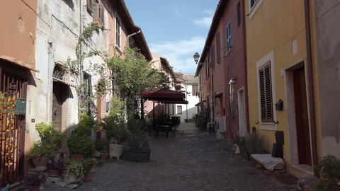 Medieval village in Ostia Antica, historical location and travel destination Live Action